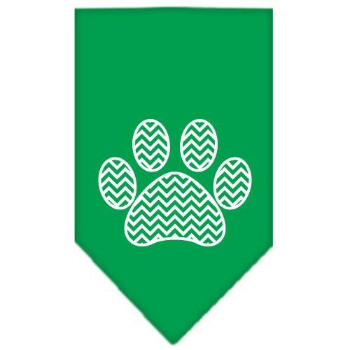 Chevron Paw Screen Print Bandana Emerald Green Large
