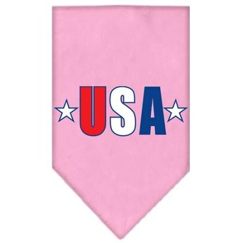Usa Star Screen Print Bandana Light Pink Small