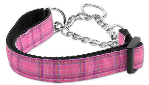 Plaid Nylon Collar  Martingale Pink Medium - 125-013M MDPK