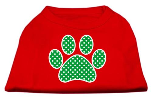 Green Swiss Dot Paw Screen Print Shirt Red Lg (14)