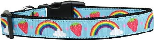 Rainbows And Berries Nylon Dog Collar Large