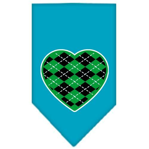 Argyle Heart Green Screen Print Bandana Turquoise Large