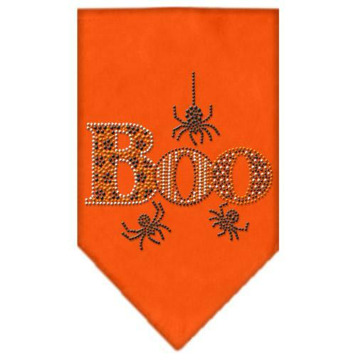 Boo Rhinestone Bandana Orange Small
