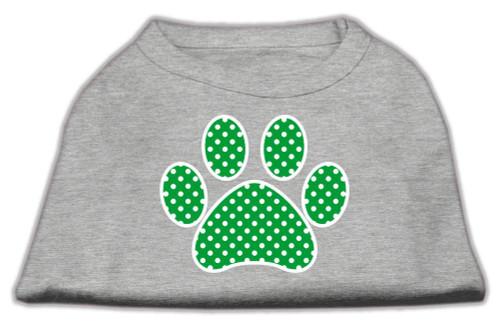 Green Swiss Dot Paw Screen Print Shirt Grey Lg (14)