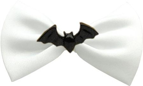 Bat Chipper White Pet Bow Tie