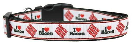 I Love Bacon Nylon Dog Collars Medium
