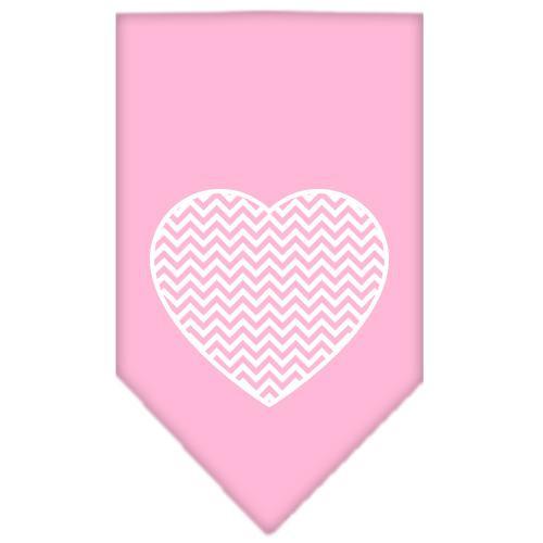 Chevron Heart Screen Print Bandana Light Pink Large