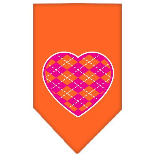 Argyle Heart Pink Screen Print Bandana Orange Small
