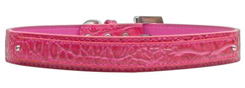 18mm  Two Tier Faux Croc Collar Pink Medium - 18-01 MDPKC