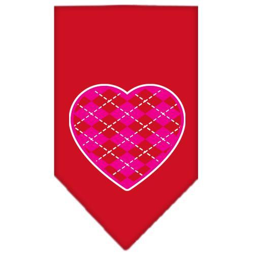 Argyle Heart Pink Screen Print Bandana Red Small