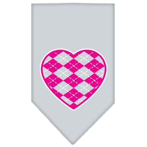 Argyle Heart Pink Screen Print Bandana Grey Small