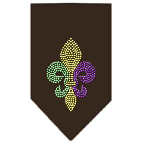 Mardi Gras Fleur De Lis Rhinestone Bandana Brown Large