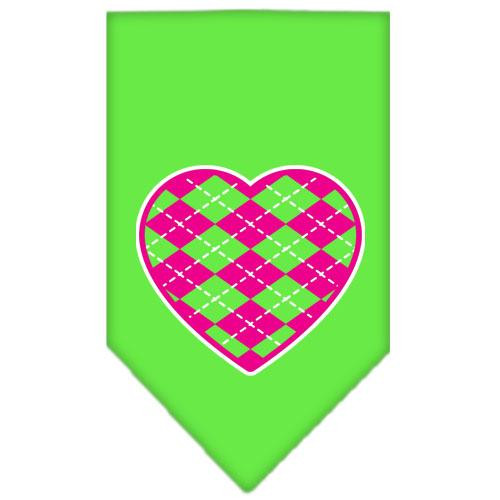 Argyle Heart Pink Screen Print Bandana Lime Green Small
