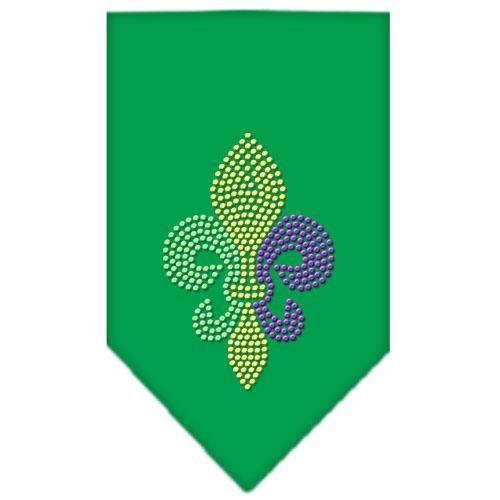 Mardi Gras Fleur De Lis Rhinestone Bandana Emerald Green Large