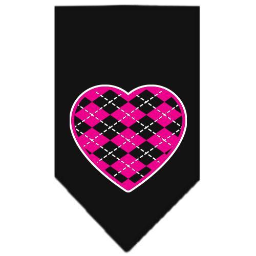 Argyle Heart Pink Screen Print Bandana Black Small