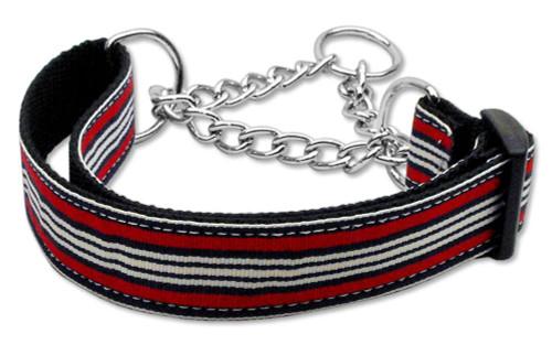 Preppy Stripes Nylon Ribbon Collars Martingale Red/white Medium