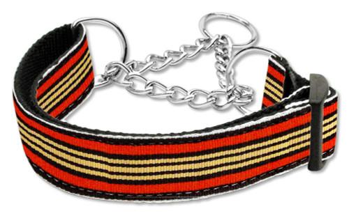 Preppy Stripes Nylon Ribbon Collars Martingale Orange/khaki Medium