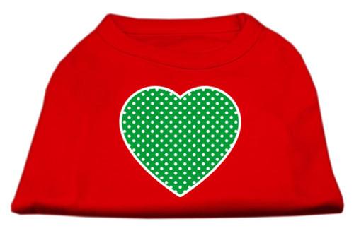 Green Swiss Dot Heart Screen Print Shirt Red Xs (8)