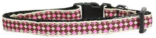 Pink Checkers Nylon Dog Collar Sm