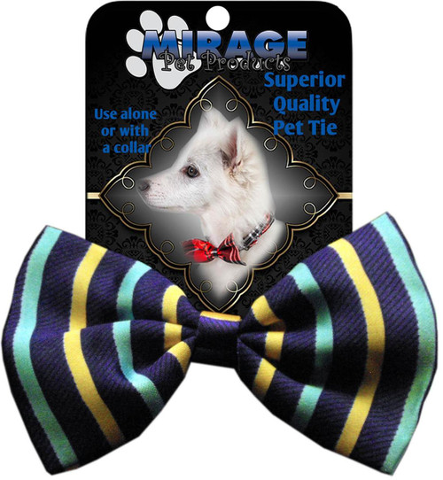 Dog Bow Tie Purple And Aqua Stripes