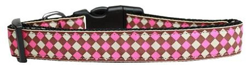 Pink Checkers Nylon Dog Collar Medium