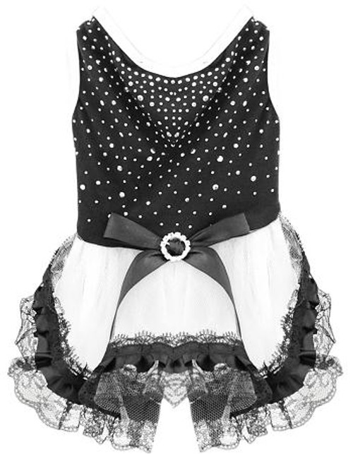 Premium Rhinestone Dress Large Black