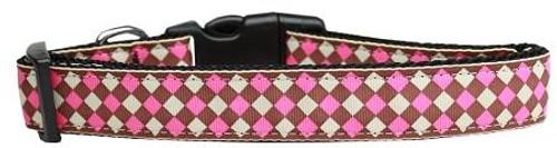 Pink Checkers Nylon Dog Collar Large
