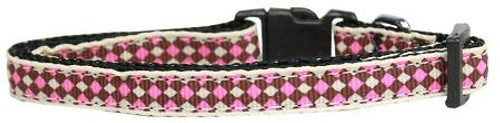 Pink Checkers Nylon Collar Cat Safety