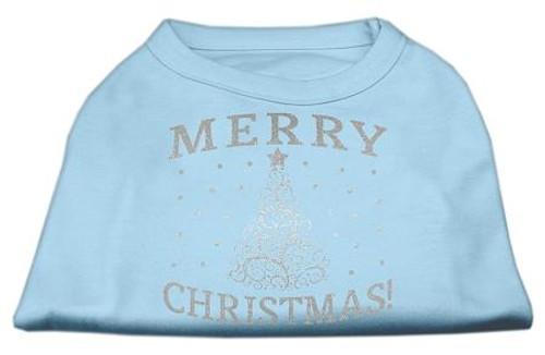 Shimmer Christmas Tree Pet Shirt Baby Blue Med (12)