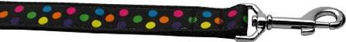 Black Multi-dot 1 Inch Wide 6ft Long Leash