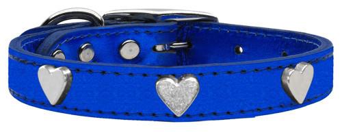 Silver Heart Widget Genuine Metallic Leather Dog Collar Blue 16