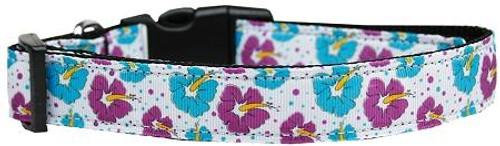 Blue And Purple Hibiscus Flower Nylon Dog Collar Medium