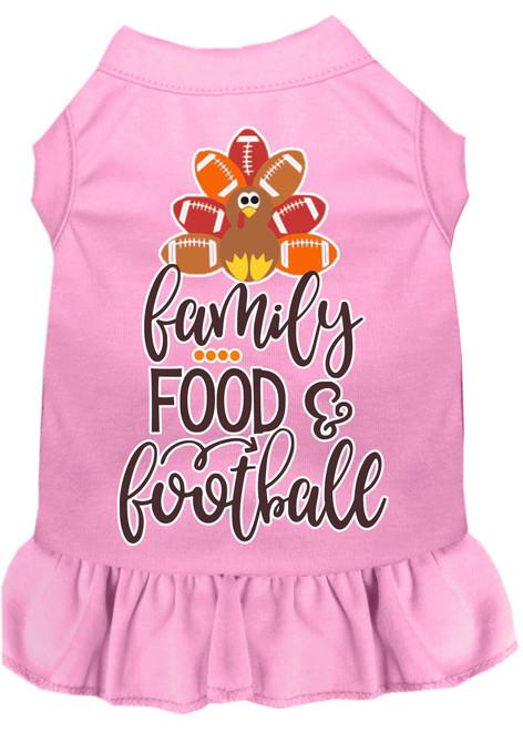 Family, Food, And Football Screen Print Dog Dress Light Pink Sm