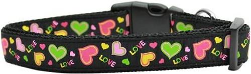 Neon Love Nylon Dog Collars Medium