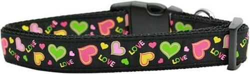 Neon Love Nylon Dog Collars Large