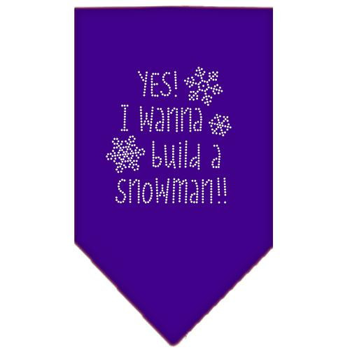 Yes! I Want To Build A Snowman Rhinestone Bandana Purple Small