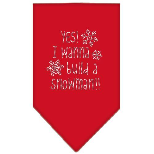 Yes! I Want To Build A Snowman Rhinestone Bandana Red Small