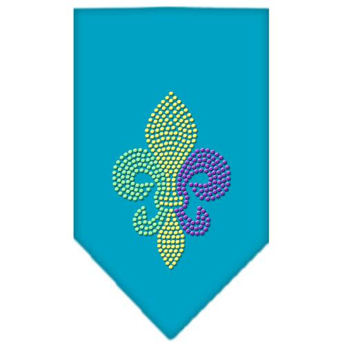 Mardi Gras Fleur De Lis Rhinestone Bandana Turquoise Large