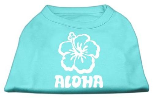 Aloha Flower Screen Print Shirt Aqua Lg (14)
