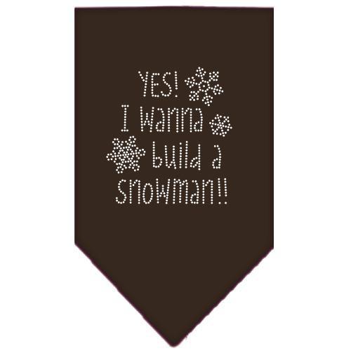 Yes! I Want To Build A Snowman Rhinestone Bandana Brown Small