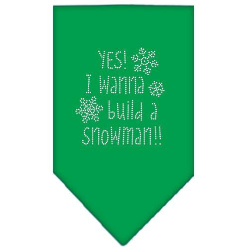 Yes! I Want To Build A Snowman Rhinestone Bandana Emerald Green Small