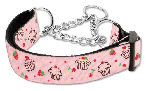 Cupcakes Nylon Ribbon Collar Martingale Medium Light Pink - 125-019M MDLPK