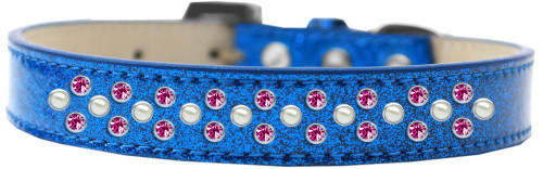 Sprinkles Ice Cream Dog Collar Pearl And Bright Pink Crystals Size 16 Blue