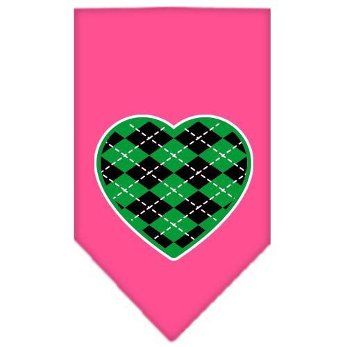 Argyle Heart Green Screen Print Bandana Bright Pink Small