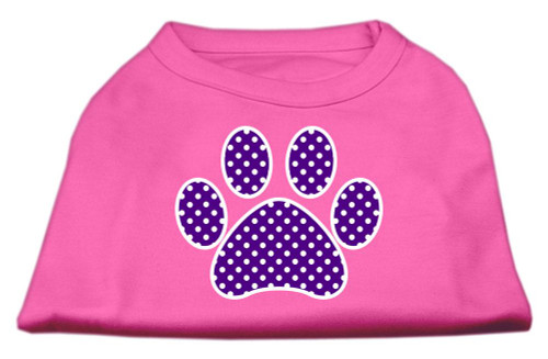 Purple Swiss Dot Paw Screen Print Shirt Bright Pink Xl (16)