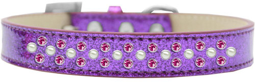 Sprinkles Ice Cream Dog Collar Pearl And Bright Pink Crystals Size 12 Purple