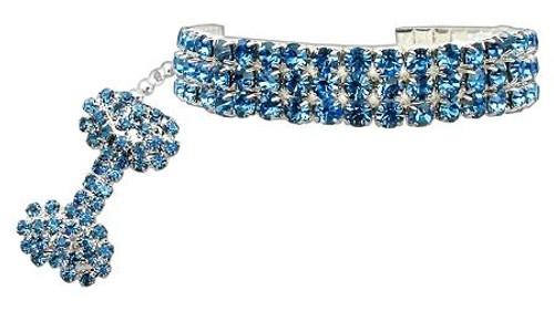 Glamour Bits Pet Jewelry Blue L (10-12)