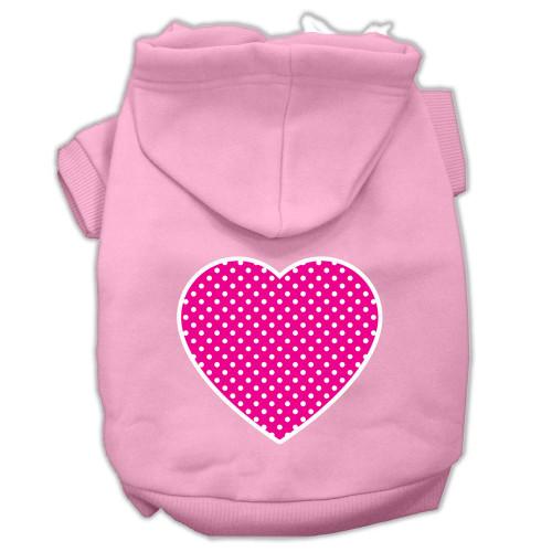 Pink Swiss Dot Heart Screen Print Pet Hoodies Light Pink Size Xl (16)