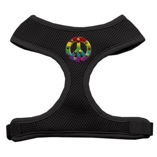 Rainbow Peace Sign Chipper Black Harness Medium