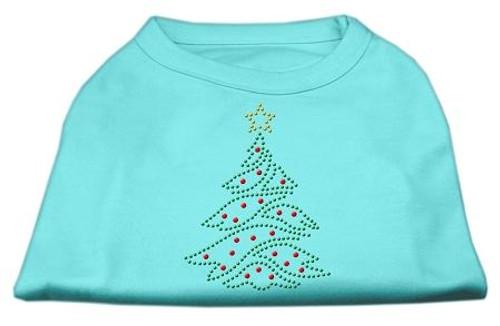 Christmas Tree Rhinestone Shirt Aqua L (14)